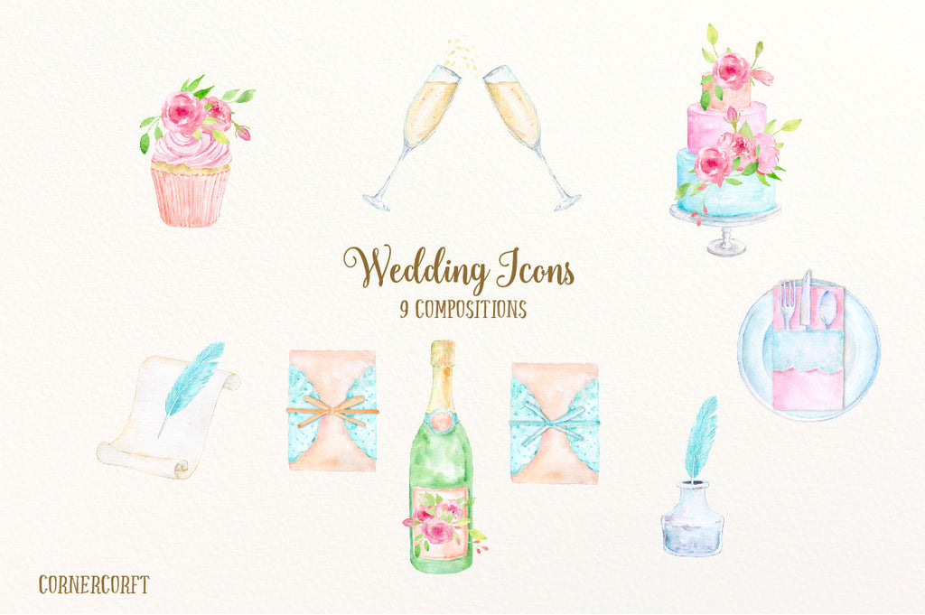 watercolor wedding icons for wedding invitations and wedding programs, instant download