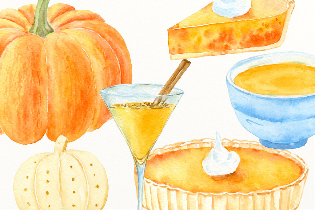 watercolor pumpkin pie, pumpkin soup, cocktail, empanadas, biscuit, pumpkin dish, thanksgiving pumpkins, garlish