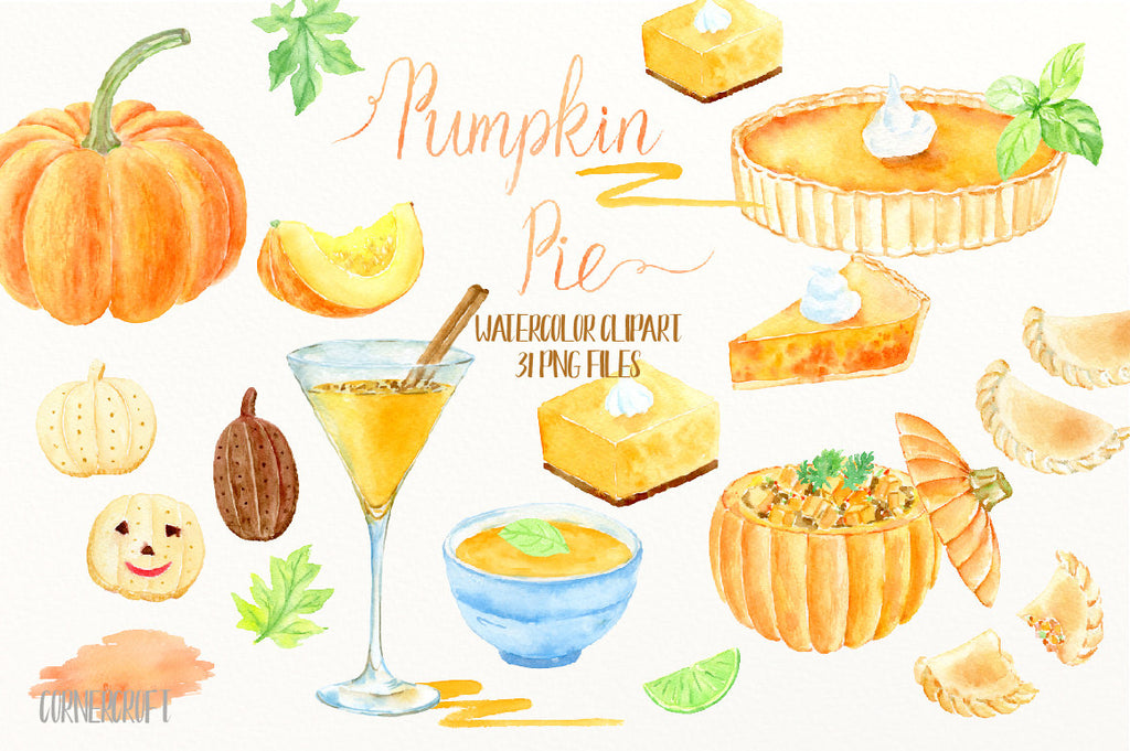 watercolor clipart, watercolor pumpkin pie, pumpkin soup, cocktail, empanadas, biscuit, pumpkin dish, thanksgiving pumpkins, garlish