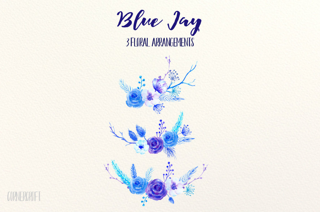 watercolor clipart blue Jay, blue jays, blue roses, blue flowers, winter flowers
