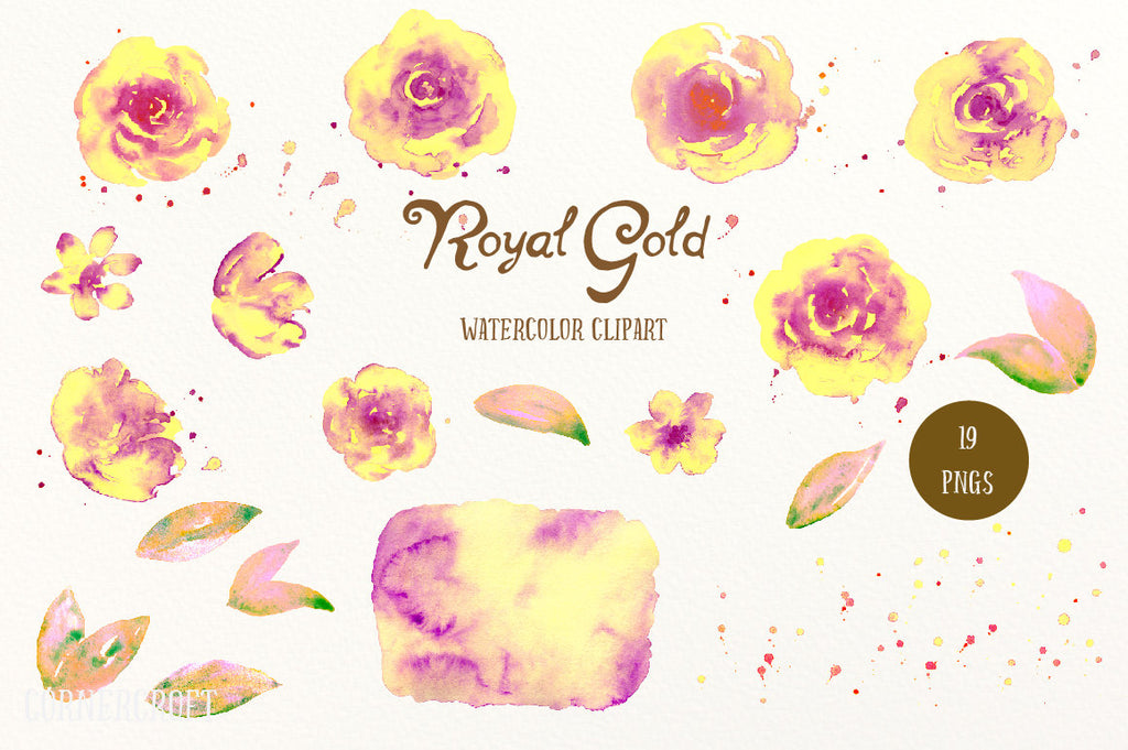 Watercolor Clipart Royal Gold, yellow roses, purple roses, paint splatter, floral arrangement for instant download, yellow rose printable