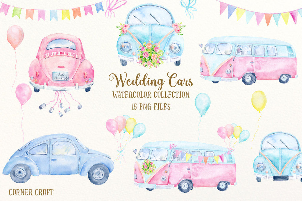 watercolor wedding car, blue car, pink car, camper van, mini bus, vintage vehicle, instant download