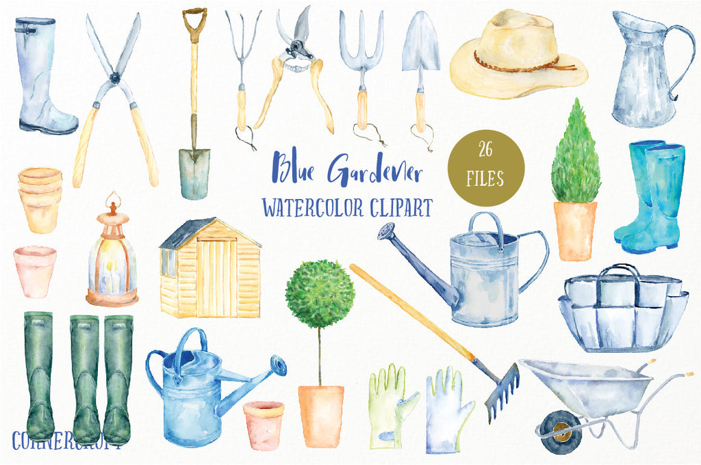 watercolor clipart blue gardener, man's garden tools (fork, trowel, Secateur), man's hat, wellington boots, watering cans, gloves, plant pots,
