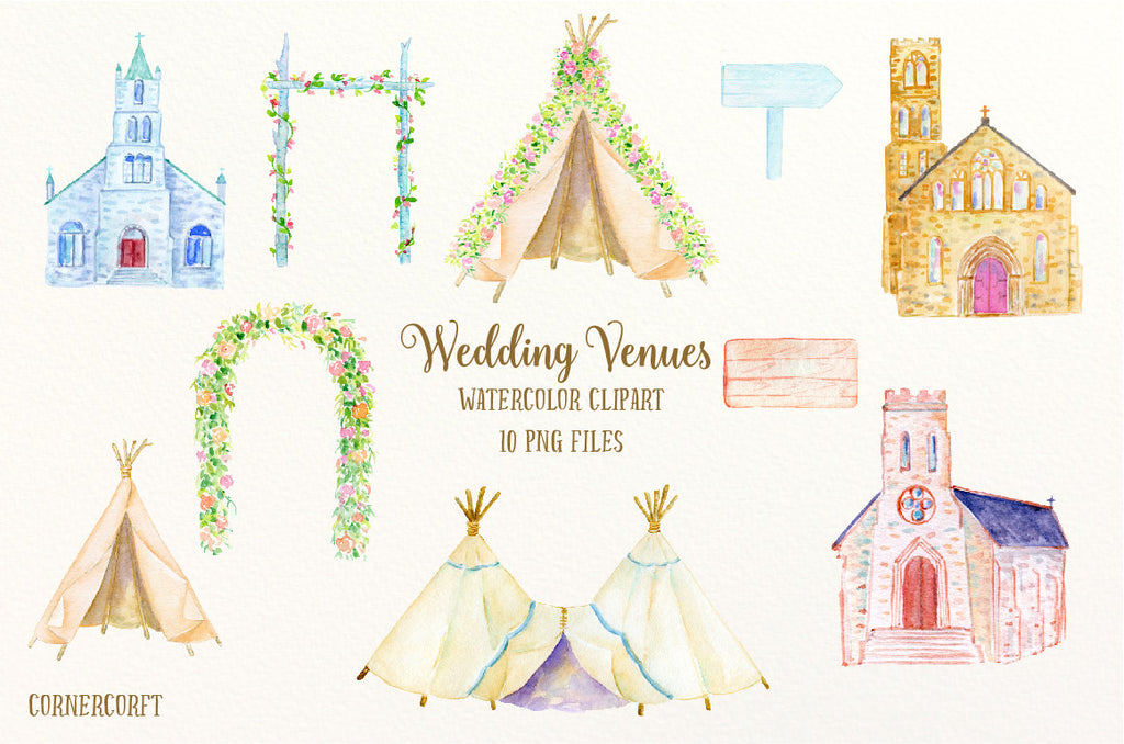 watercolor wedding venue, boho wedding, church, teepee, floral arch