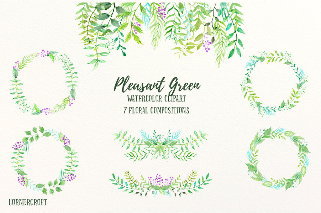 watercolor green leaf wreath, floral arrangement instant download