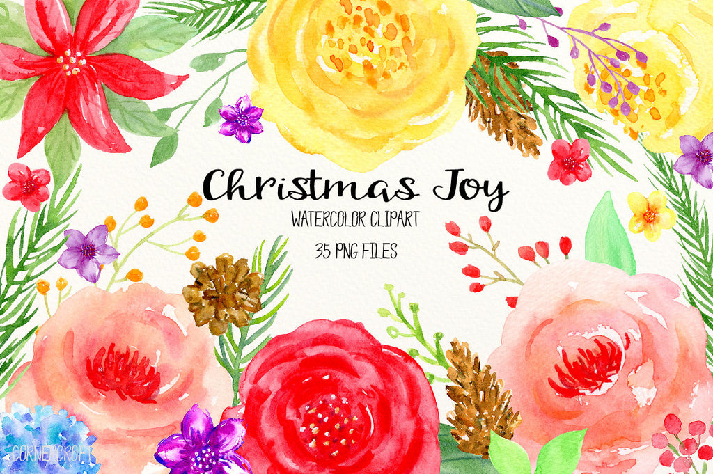 Watercolor clipart Christmas joy, red flower, yellow flower, Christmas flowers