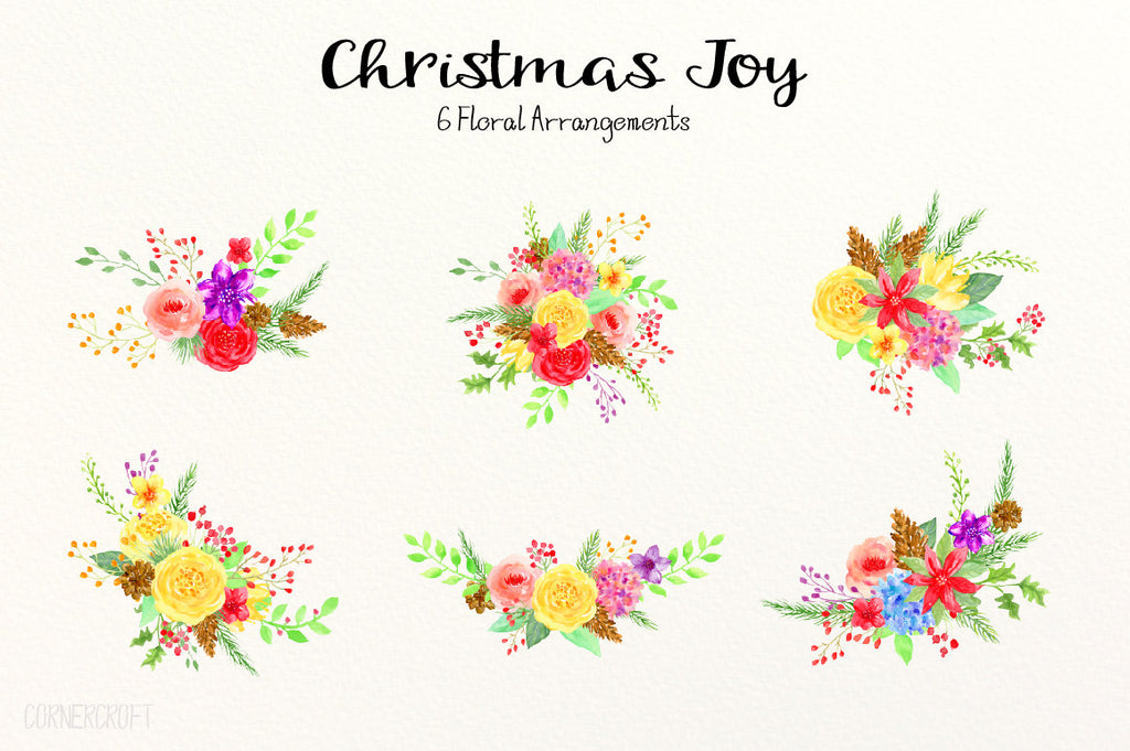 Watercolor Floral Arrangement,  Christmas Joy, Christmas Posy, Christmas Bouquet, red, yellow