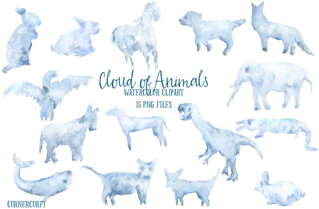 watercolor clipart, cloud in the shape of animals, cloud illustration