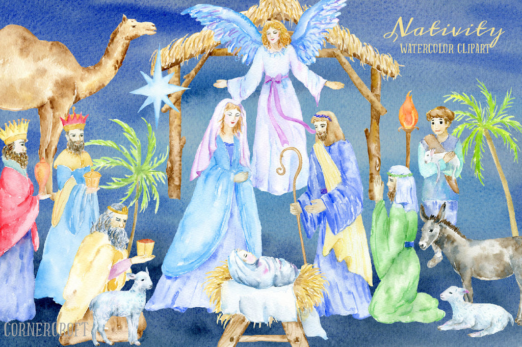 Hand painted watercolor Nativity elements, mary, joseph,angel, baby Jesus, 3 kings, lamb, stable, donkey, camel and decorative elements