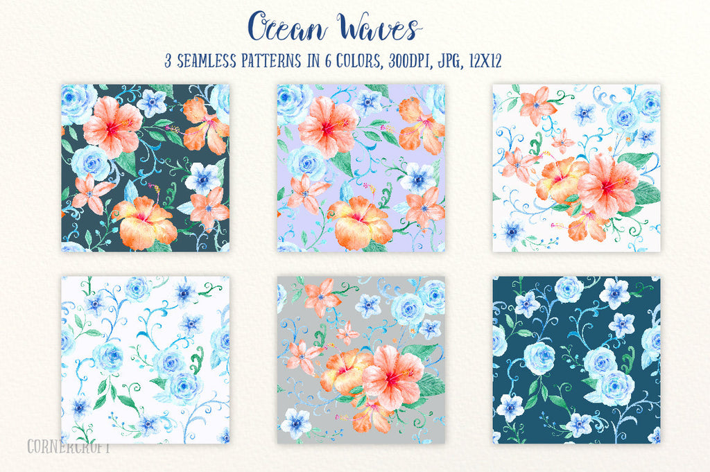 watercolor orange hibiscus, blue roses, swirls and curls, decorative elements,  hibiscus patterns, instant download