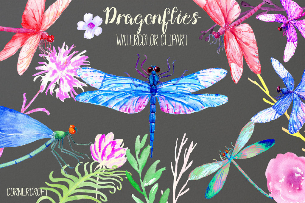Dragonfly Clip Art,watercolor dragonfly, dragonfly clipart, blue dragonfly, purple dragonfly, damselfly, instant download