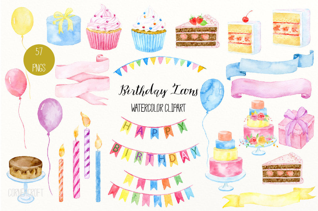 birthday icons, watercolor, ribbons, cake, hand painted, birthday clipart, clipart,birthday cake, banner, card, illustration