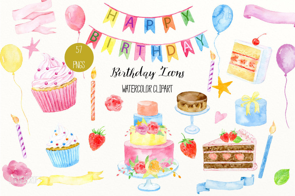 birthday icons, watercolor, ribbons, cake, hand painted, birthday clipart, clipart,birthday cake, banner, card,