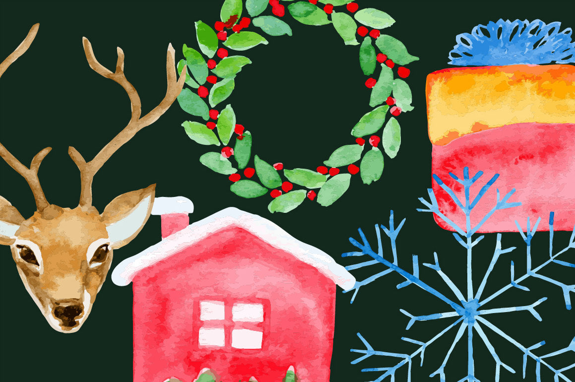Watercolor Christmas Flat Icons, PNG AND VECTOR, Christmas