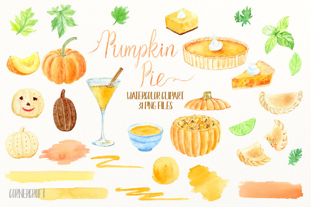 Thanksgiving clipart, food and drink, pumpkin pie