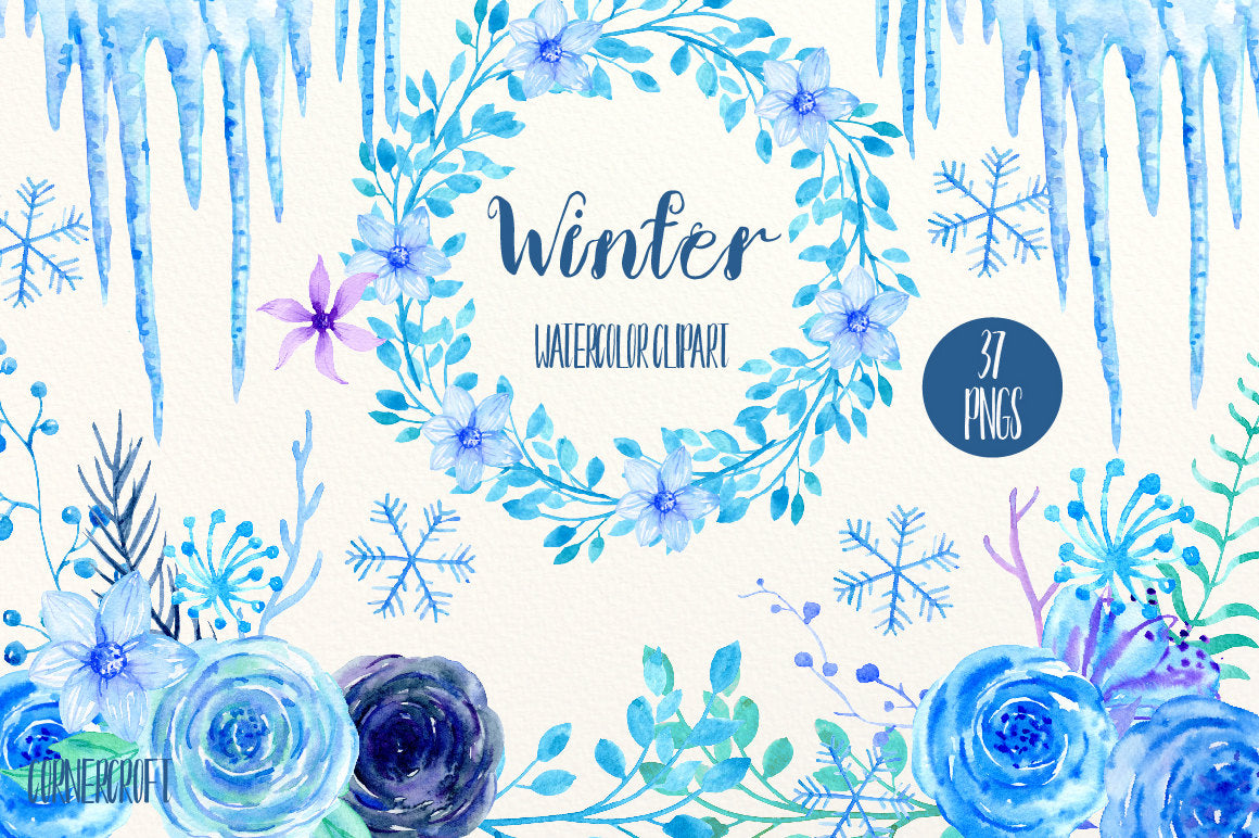 Blue Flower Clip Art Winter Watercolor Blue Purple Roses Flower