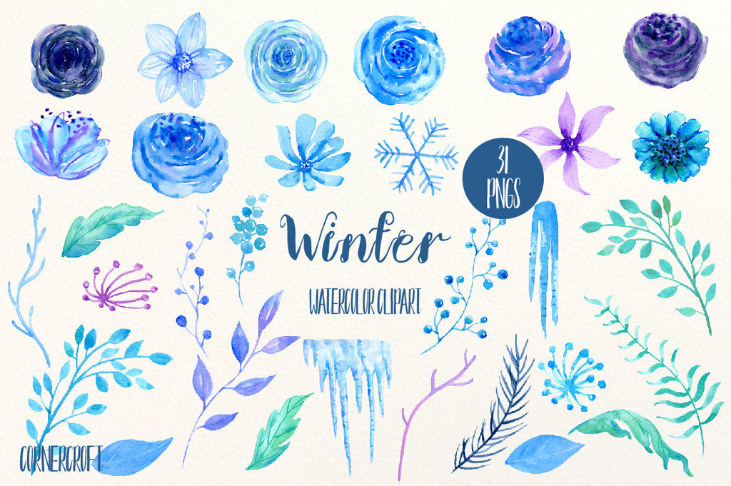 Blue flower clip art, Winter, watercolor blue & purple roses, flower, icicles and snowflake, floral arrangement, wreaths for instant download