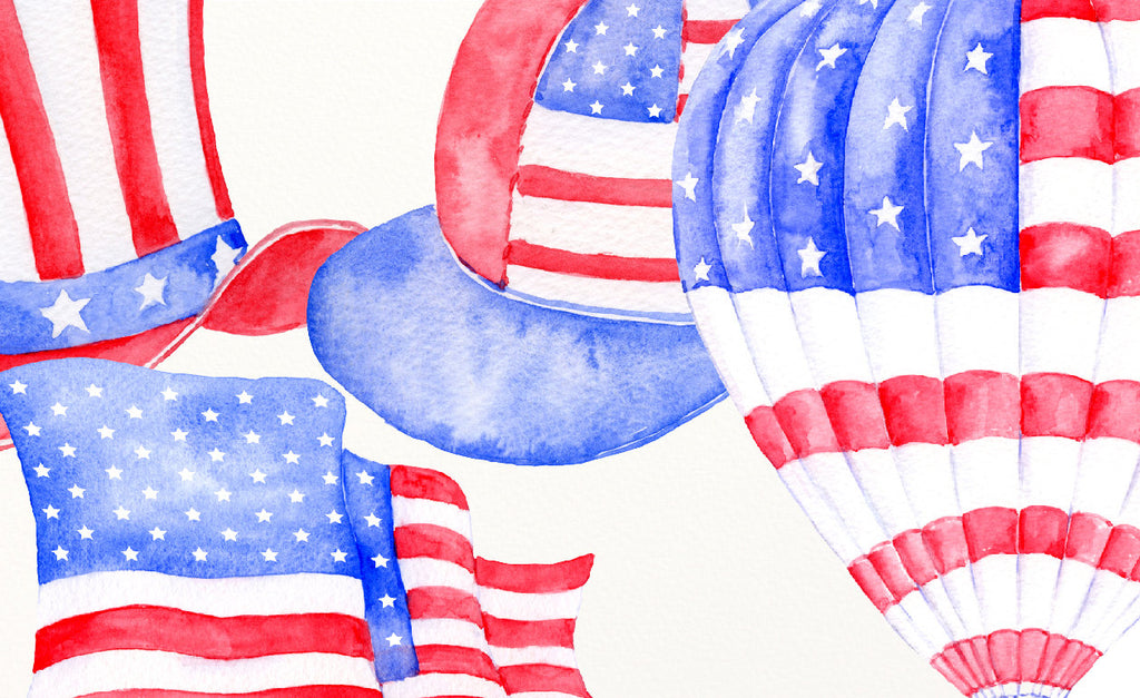 watercolor clip art, watercolor, blue, red, American flag, America hat, bow tie, hot air balloon