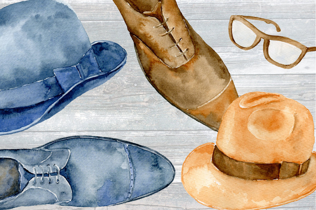 Watercolor clip Art Gentleman's Wardrobe, men's hat, shoes, glasses for download