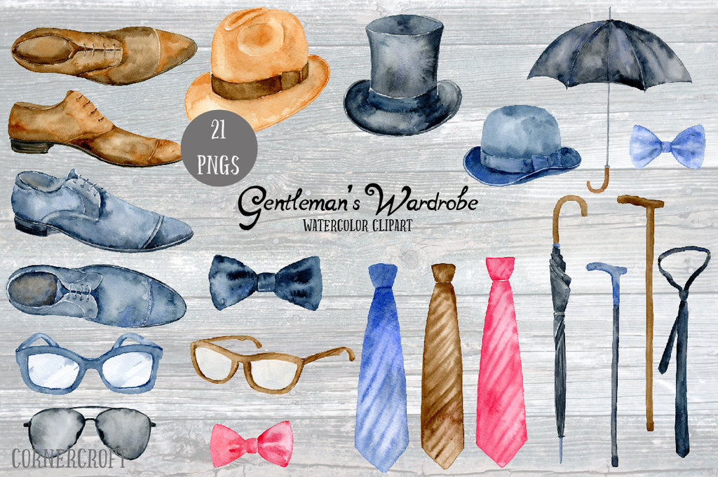 men's hat, glasses, ties, bow ties, shoes, walking sticks, umbrellas