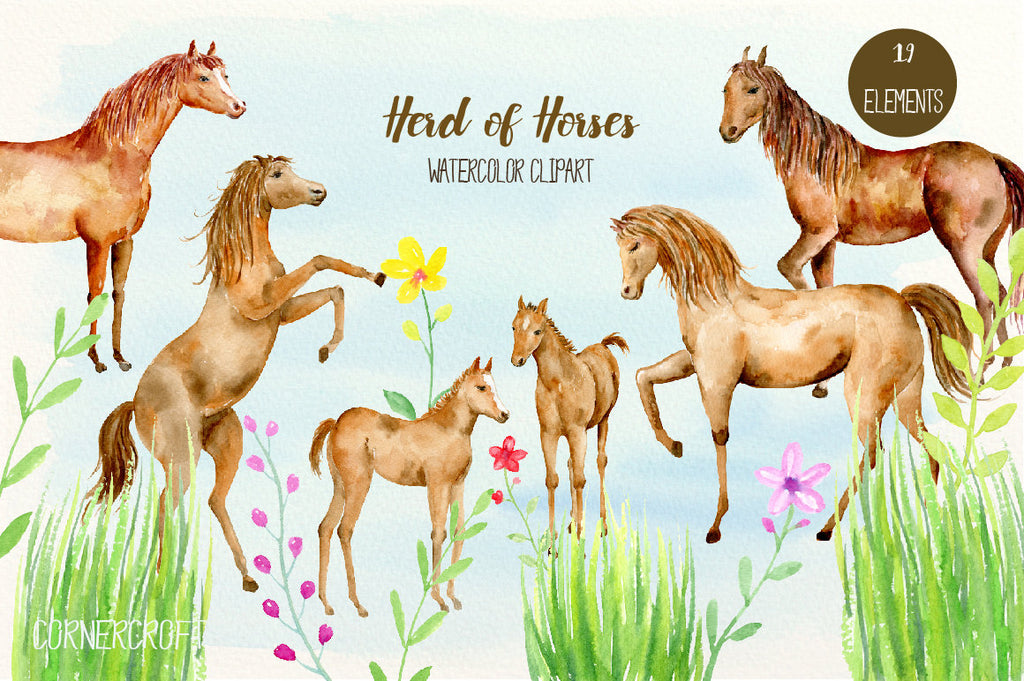 Horse Clip art, herd of horses, watercolor horse, horse clipart, brown horses, foals, herd of horses, horse family