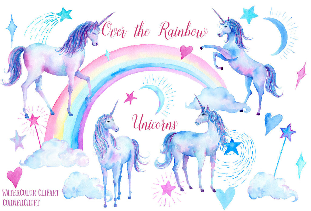 watercolor clipart unicorn, over the rainbow unicorn, blue unicorn, purple unicorn, unicorn illustration