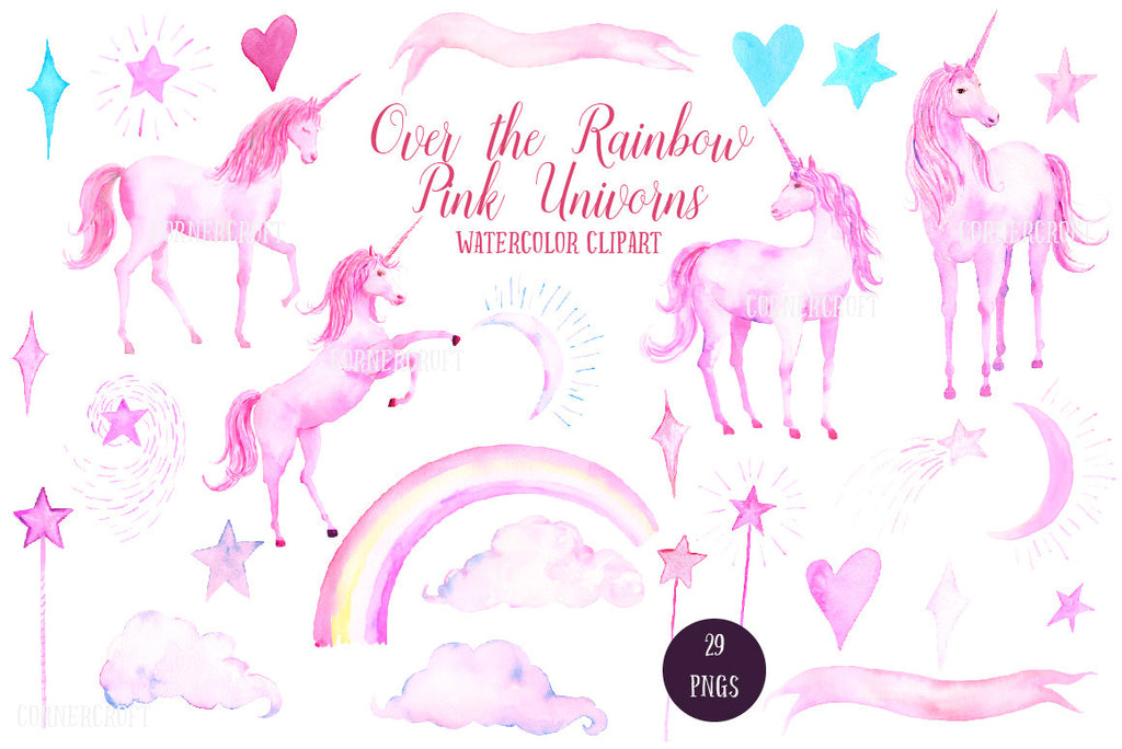 watercolor pink unicorn, heart, moon, star, cloud and pink rainbow