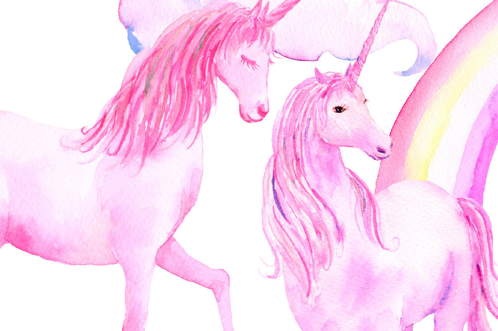 watercolor pink unicorn, nursery print, teen room decor