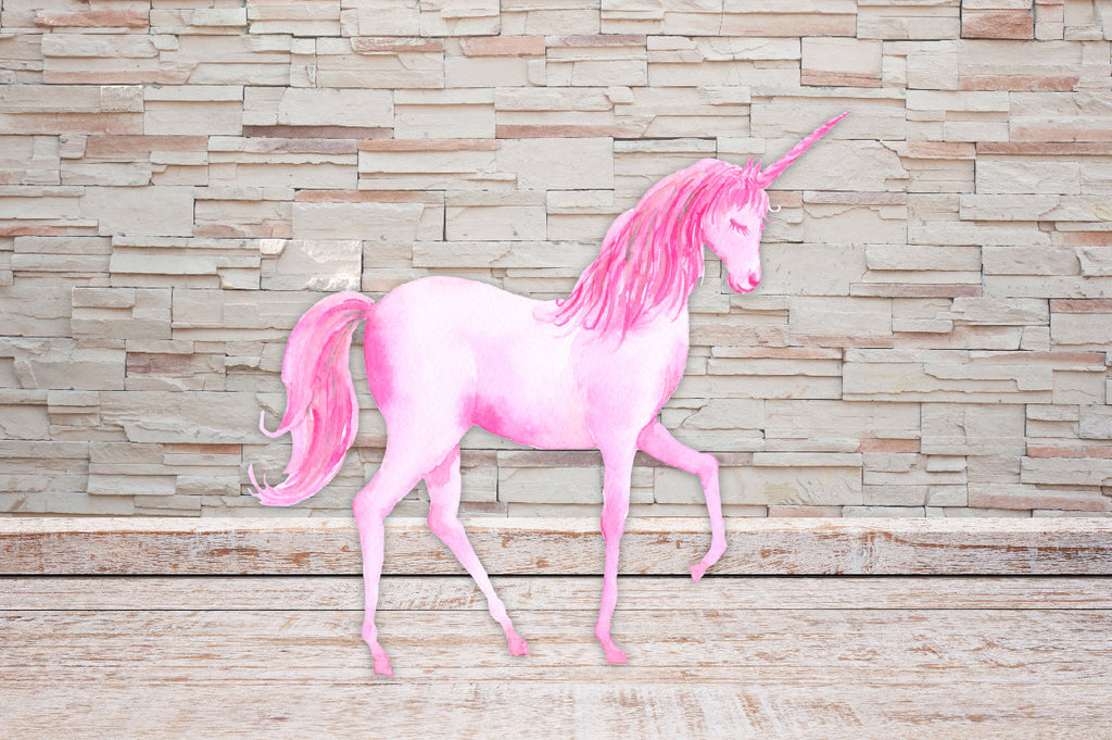 watercolor pink unicorn, unicorn illustration