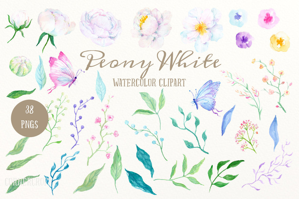 Hand painted variety of white white peonies, leaf, berries, butterflies, and decorative elements for instant download
