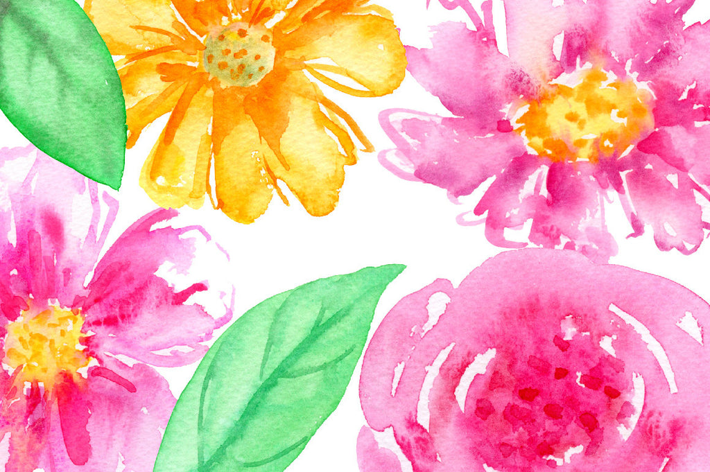 Watercolor Clipart Royalty  Hand painted watercolor purple flowers, pink flower, yellow flowers, gold flowers, berries and decorative elements for instant download