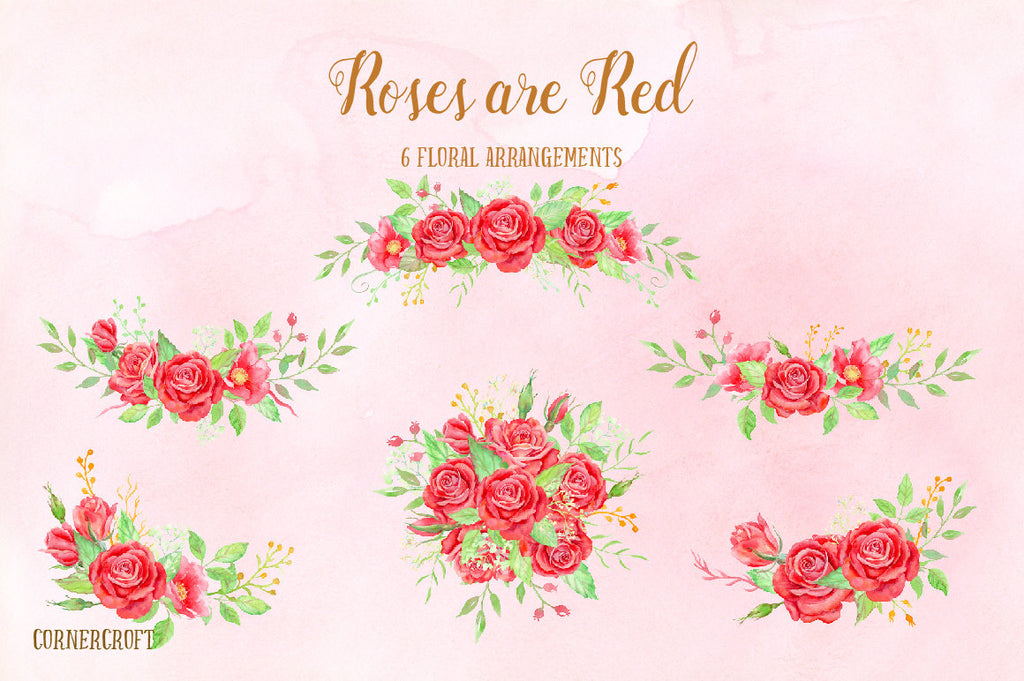 Watercolor Roses Are Red Floral Arrangement, red rose posy, rose bouquet, red rose corner for instant download