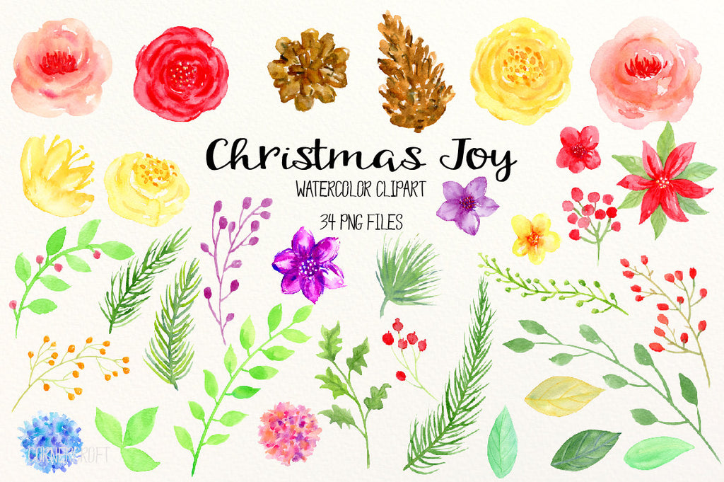 festive flower elements digital download, watercolor flower, Christmas flowers, rose, berry and poinsettia