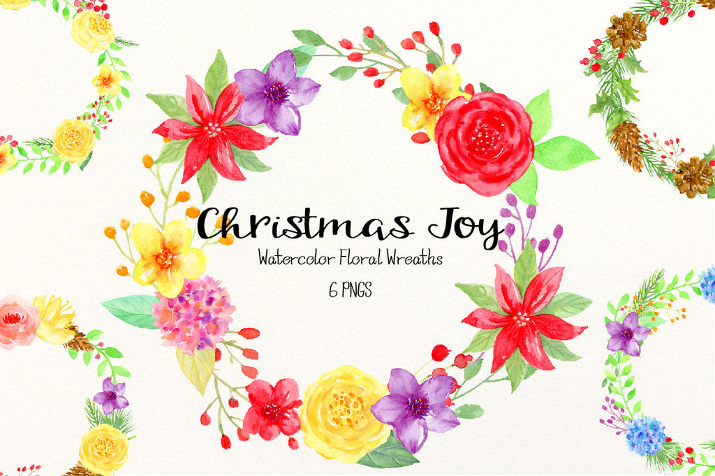 Christmas Joy - Watercolor Floral Wreath, Christmas wreaths in festive colors, red and yellow
