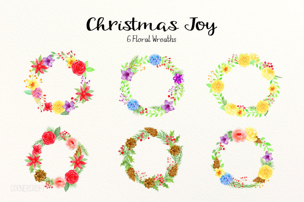 Watercolor Christmas Joy, Christmas wreath, red flower, yellow flower, corner croft