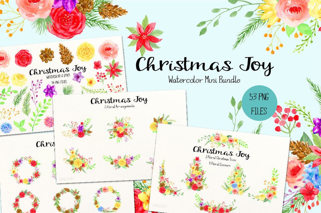 Watercolor clipart bundle Christmas joy, red flower, yellow, floral tree, floral posy