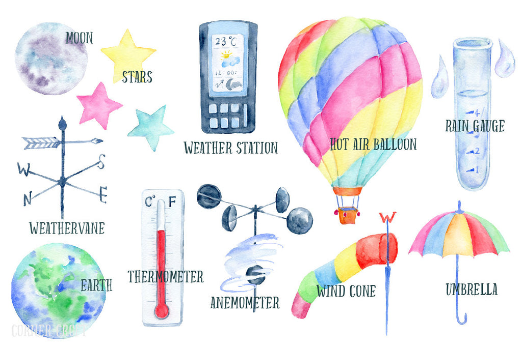 watercolor clipart weather station, hot air balloon, umbrella, anemometer, weathervane, thermometer, wind cone, moon, star, earth, rain drops, wind, wind blown umbrella
