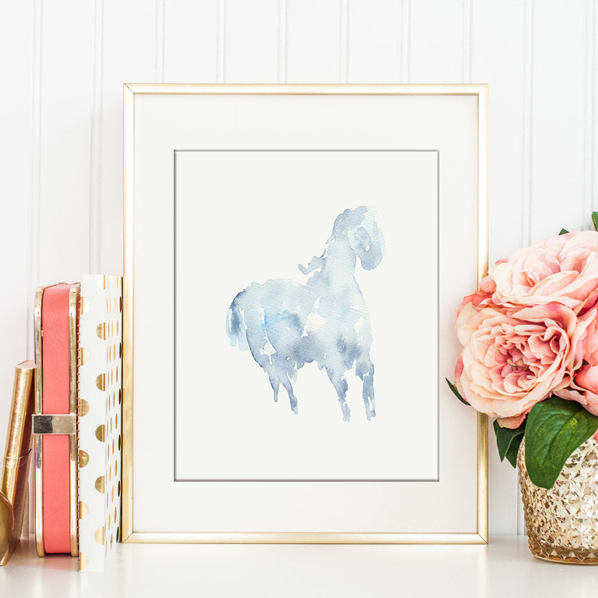 watercolour clipart, cloud of animals, horse, dog, elephant, nursery clipart