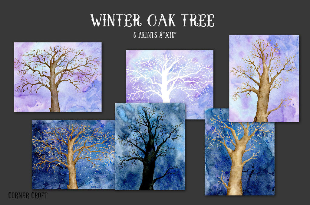 Hand painted large bare oak trees, tree branches, art prints