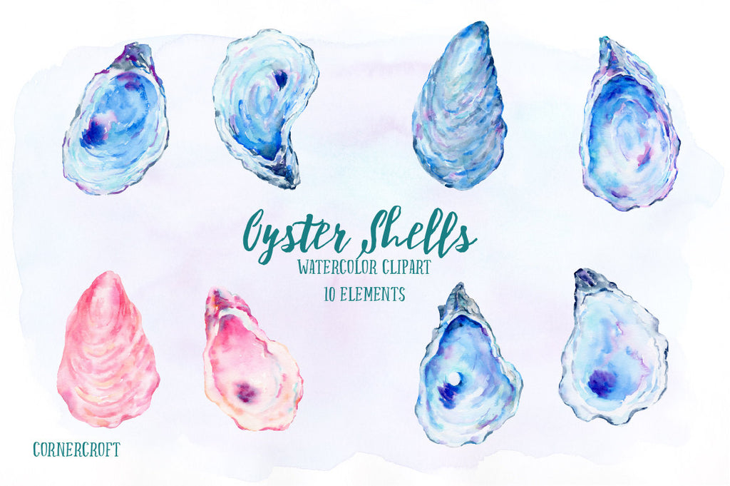 watercolor oyster shells, blue, purple and pink oyster shells