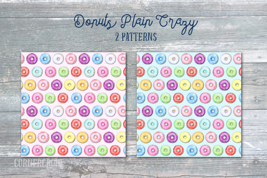 watercolor donut patter, donut clipart, instant download, corner croft graphics