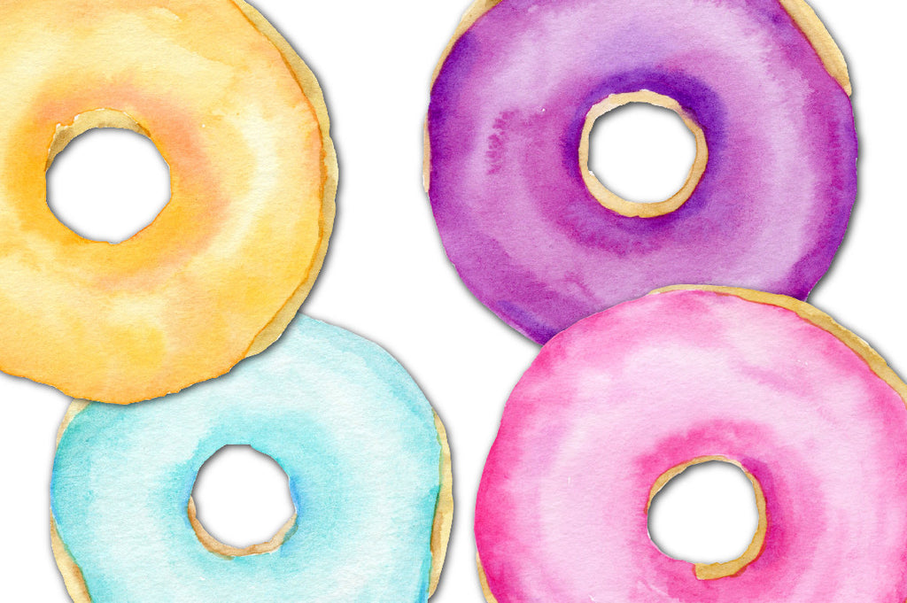 watercolor donuts, donut illustration, chocolate donuts.