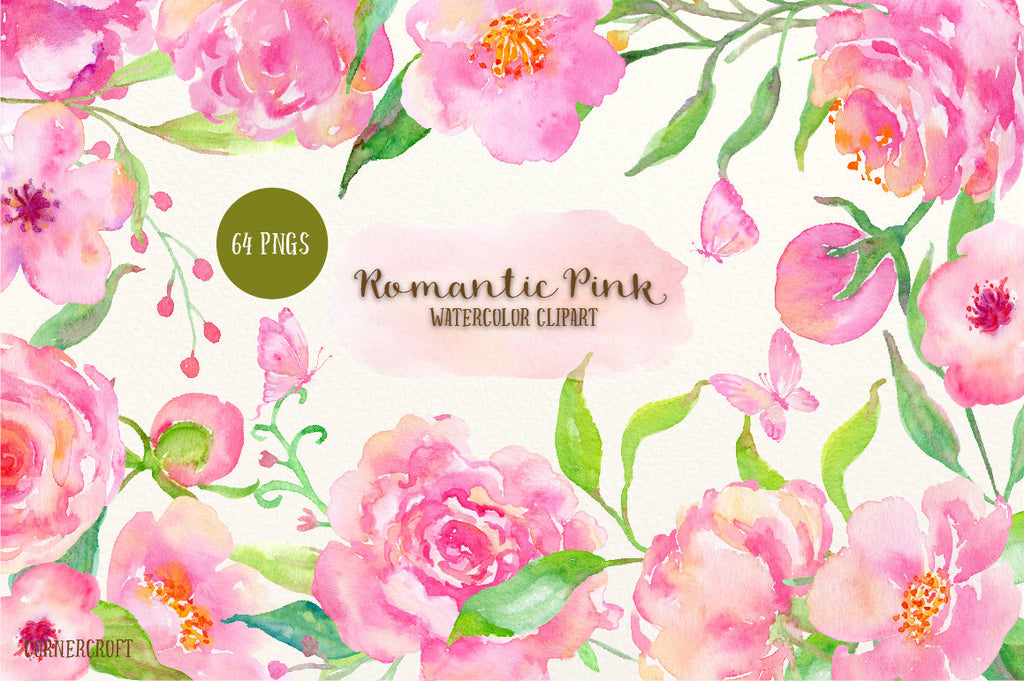 Pink Flower Clip art, Watercolor Clipart Romantic Pink - peach and pink peonies, roses, butterflies, leaf elements for instant download