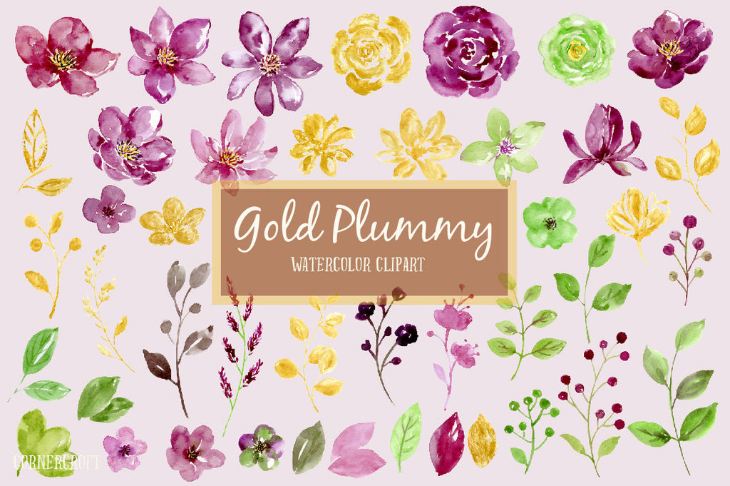Watercolor Clipart Gold Plummy, plummy flowers, purple flowers, gold flowers, green flowers