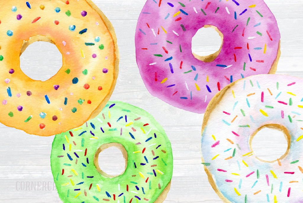 watercolor donut illustration with sprinkles, Corner Croft graphics