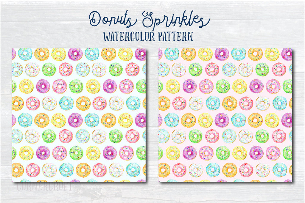 watercolor donut pattern, food illustration
