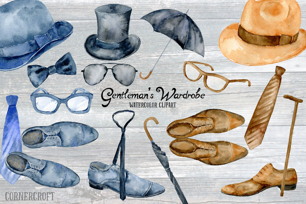 watercolor illustration of mens hat, tie, shoes an accessories