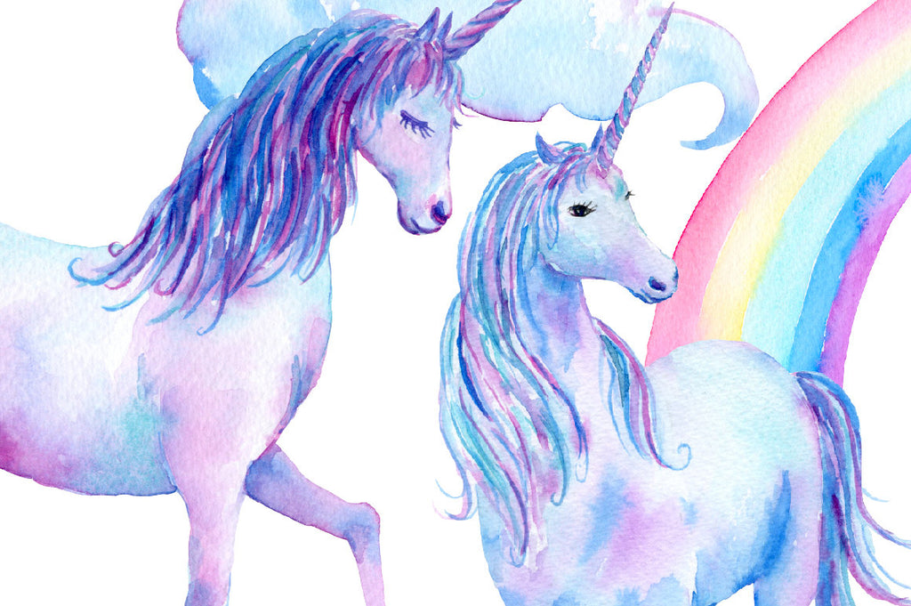 nursery clipart, nursery illustration, watercolor clipart, watercolour unicorns