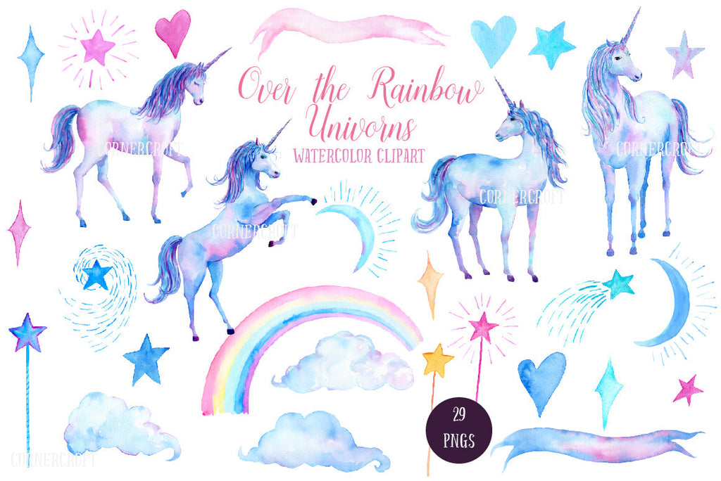 watercolour unicorn illustration, star, cloud, moon, teen room decor