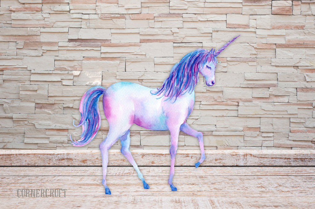 watercolour unicorn clipart, rainbow, blue unicorn, purple unicorn, watercolor illustration